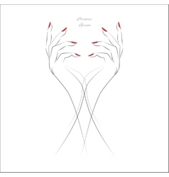 Hand with red nails vector image