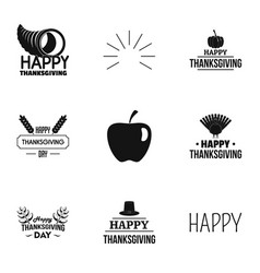 happy thanksgiving logo set simple style vector image