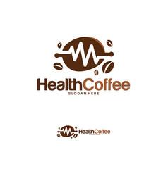 Health coffee logo designs concept coffee bean vector