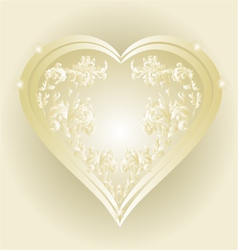 Heart of gold and silver ornaments vintage vector