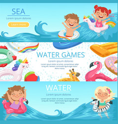 horizontal banners set with of happy vector image