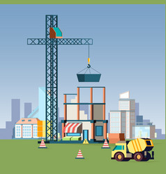 house construction urban landscape with buildings vector image