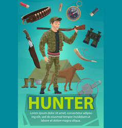 Hunter with rifle dog hunting equipment banner vector