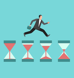 hurrying business man runs on hourglasses vector image