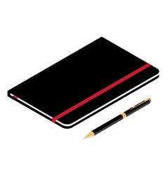 isometric perspective 3d black leather notebook vector image