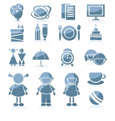 kid icons vector image vector image