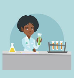 Laboratory assistant working with a test tube vector