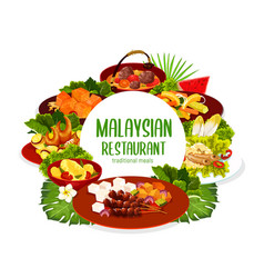 Malaysian cuisine restaurant meals round banner vector