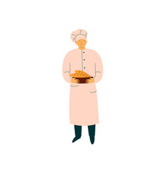 male chef holding freshly baked french baguettes vector image