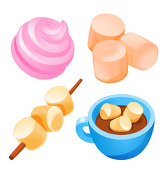 Marshmallow icons set cartoon style vector