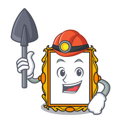 Miner picture frame mascot cartoon vector