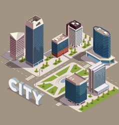 Modern city block composition vector