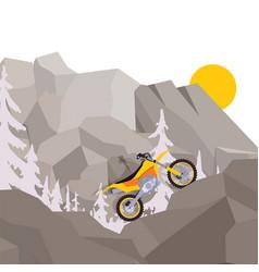 Motorcycle journey through mountain climbing and vector