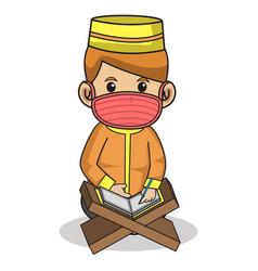 Muslim boy use orange dress traditional vector