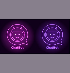 neon chat bot in purple and violet color vector image