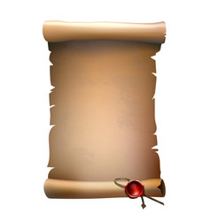 Old paper scroll with wax seal vector
