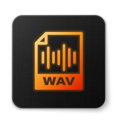 Orange glowing wav file document icon download vector