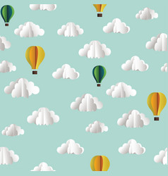 paper seamless pattern with clouds and hot air vector image