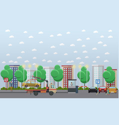 Parking lot concept in flat vector
