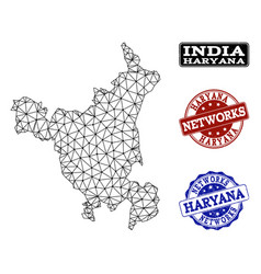 Polygonal network mesh map of haryana state vector