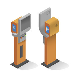 Realistic modern parking meter front and back view vector