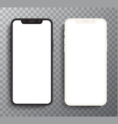 Realistic white and black smartphone shape vector