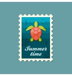 Sea turtle stamp summer vacation vector