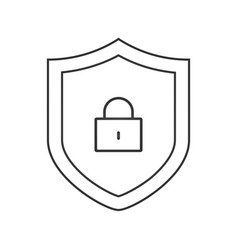Security shield with lock outline icon linear vector