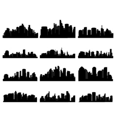 Set of city skyline vector