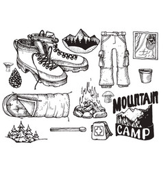 set of highly detailed hand drawn camping vector image