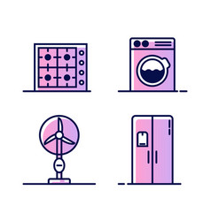 set of icons with home appliances gas or electric vector image