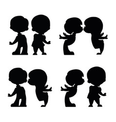 Set of lovers boy and girl siluet vector