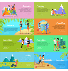set of people on vacation flat web banners vector image