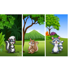 Set of three funny animals with nature background vector