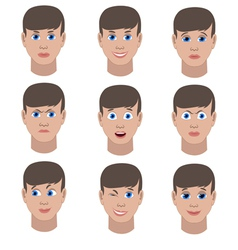 Set of variation of emotions of the same guy vector
