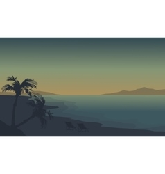 Silhouette of beach at summer holiday with fog vector