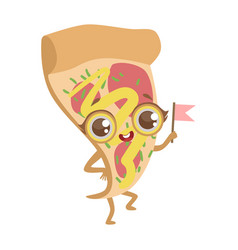slice of pizza cute anime humanized cartoon food vector image