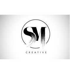 sm brush stroke letter logo design black paint vector image