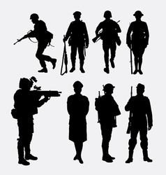 Soldier army and police silhouette 2 vector image