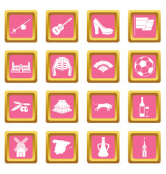 spain travel icons pink vector image