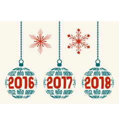 Spanish retro New Year 2016-2018 design elements vector