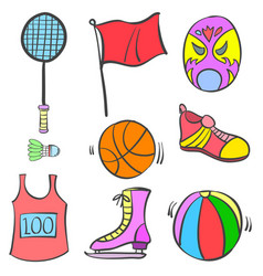 Sport equipment object of doodles vector