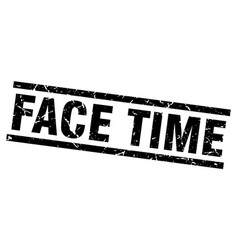 Square grunge black face time stamp vector