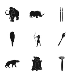 Stone age set icons in black style Big collection vector