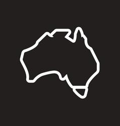 Stylish black and white icon map of australia vector