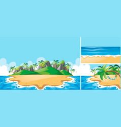Summer scenes with ocean and beach vector