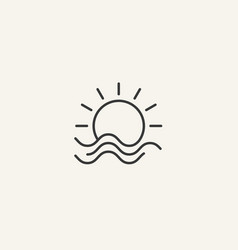 sun and wave logo or icon or badge or tattoo vector image