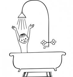 Taking a shower boy vector