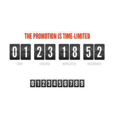 template of flip countdown timer clock counter vector image