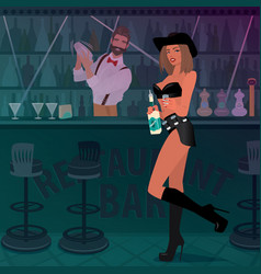 Tequila girl offers alcoholic drink in the bar vector